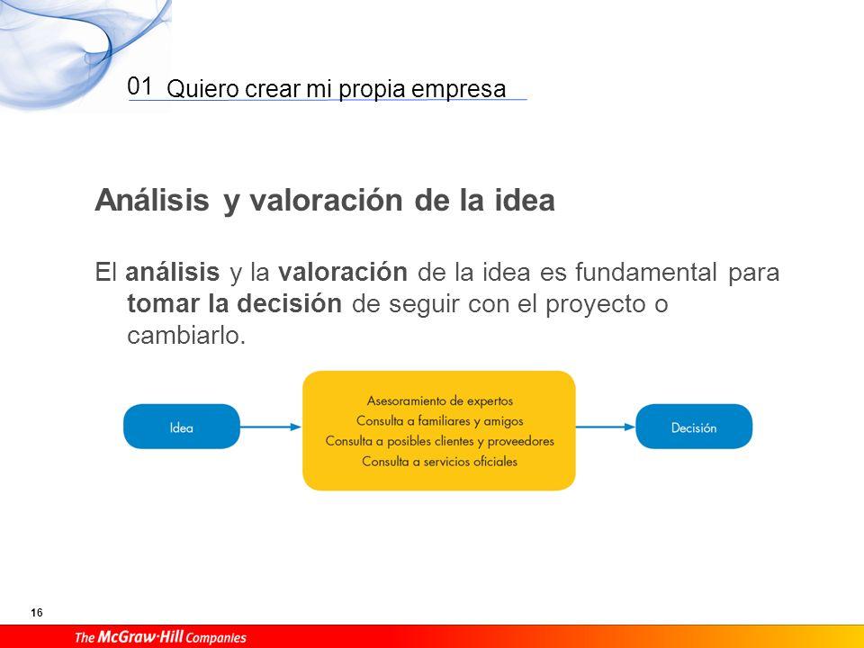 Quiero crear mi propia empresa 16 01 Análisis y valoración de la idea El análisis y la valoración de la idea es fundamental para tomar la decisión de seguir con el proyecto o cambiarlo.