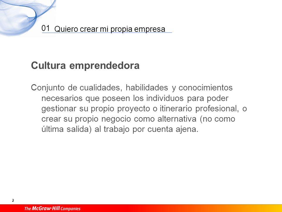 Quiero crear mi propia empresa 13 01 La idea: creatividad e innovación Creatividad es la generación de nuevas ideas.