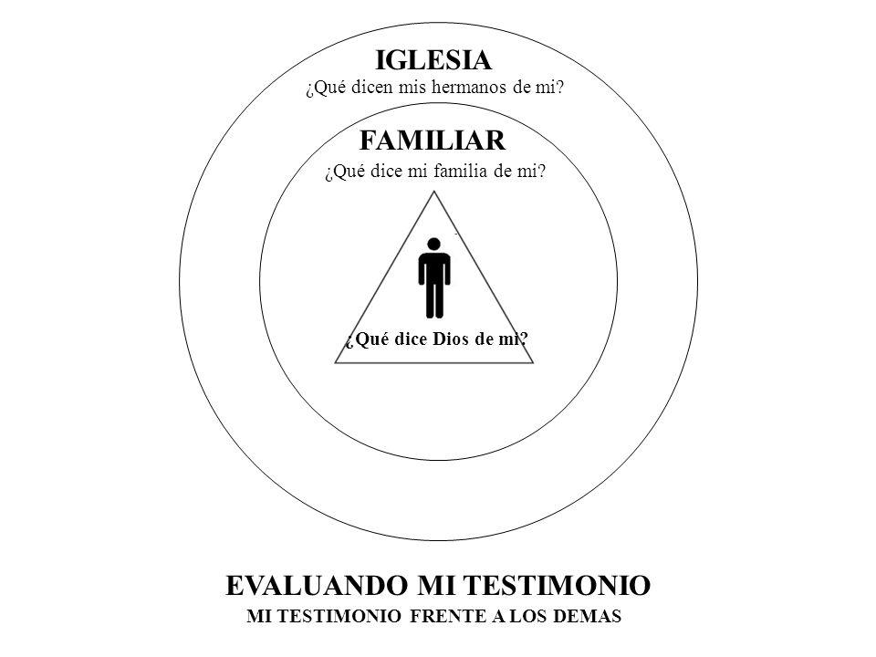 MI TESTIMONIO FRENTE A LOS DEMAS FAMILIAR IGLESIA EL MUNDO EVALUANDO MI TESTIMONIO ¿Qué dice mi familia de mi.