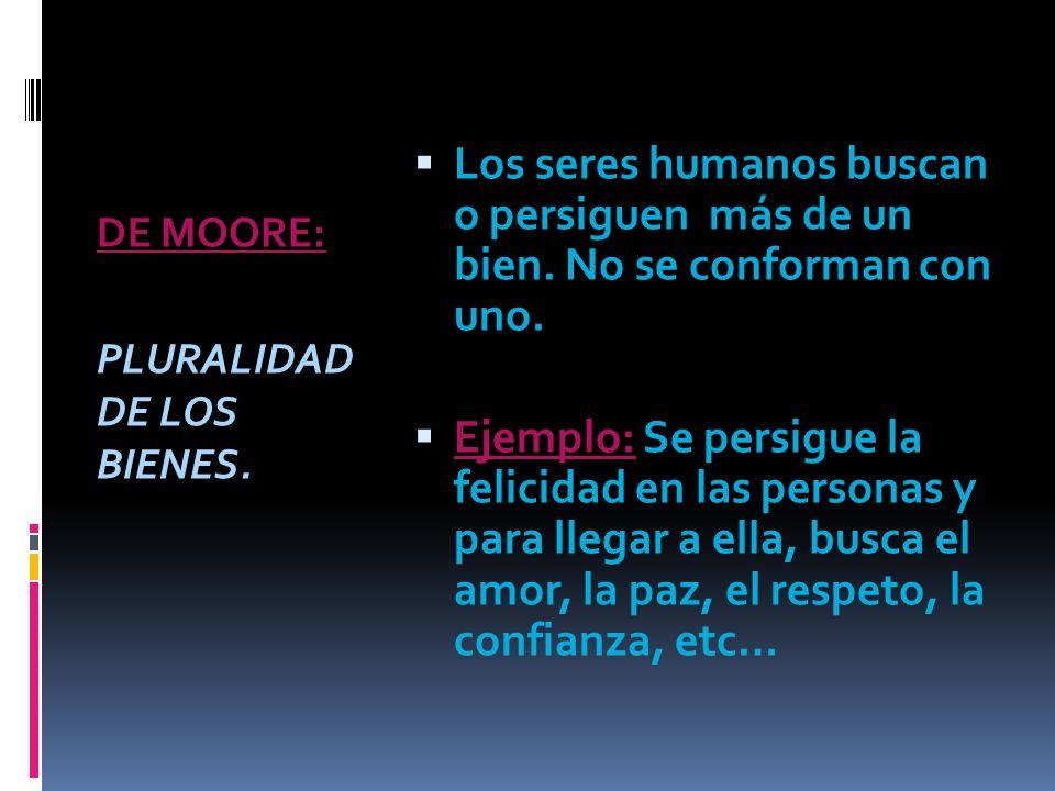 DE MOORE: PLURALIDAD DE LOS BIENES.Los seres humanos buscan o persiguen más de un bien.