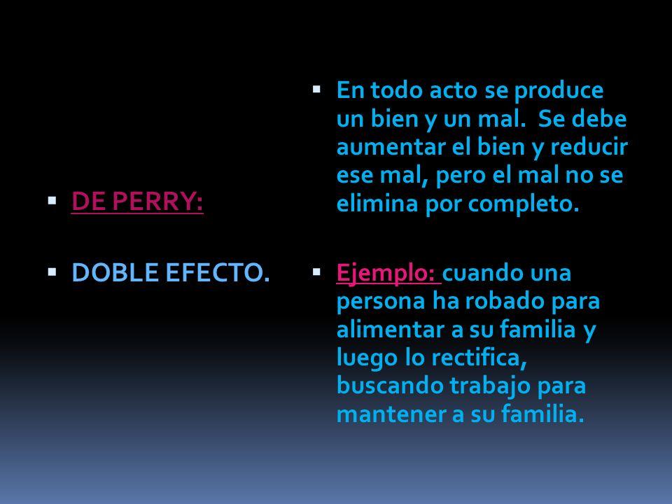 DE PERRY: DOBLE EFECTO.En todo acto se produce un bien y un mal.