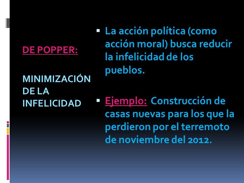 DE POPPER: MINIMIZACIÓN DE LA INFELICIDAD La acción política (como acción moral) busca reducir la infelicidad de los pueblos.