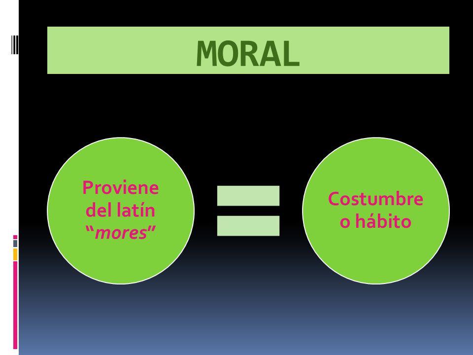 MORAL Proviene del latínmores Costumbre o hábito