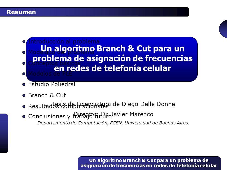 Un algoritmo Branch & Cut para un problema de asignación de frecuencias en redes de telefonía celular Conceptos básicos x1x1 x2x2 Maximizar x 1 + x 2 x 1 + 3 x 2 12 3 x 1 + 4 x 2 20 x 1, x 2 0 Sujeto a 16/5 12/5 x 1 +x 2 = 28/5