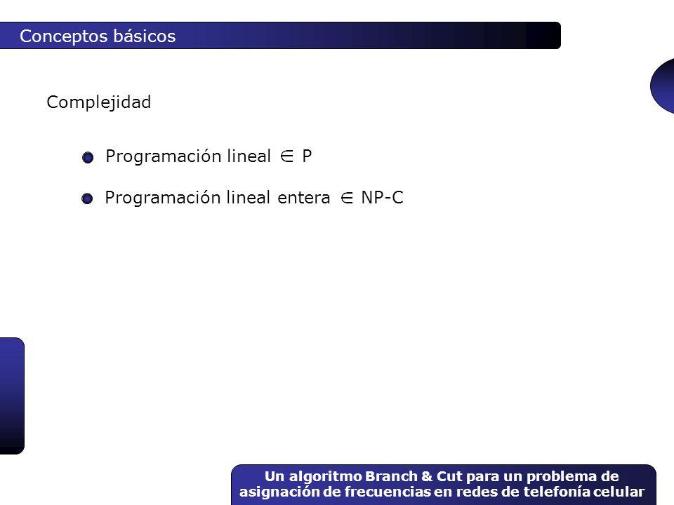 Un algoritmo Branch & Cut para un problema de asignación de frecuencias en redes de telefonía celular Conceptos básicos Complejidad Programación linea