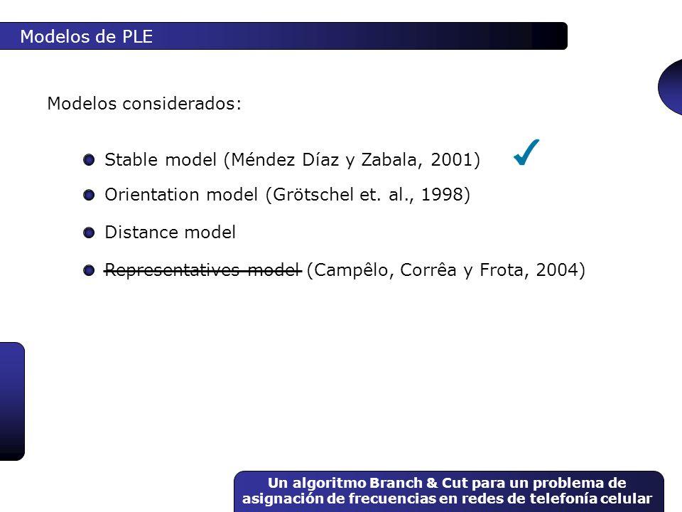 Un algoritmo Branch & Cut para un problema de asignación de frecuencias en redes de telefonía celular Modelos de PLE Modelos considerados: Orientation