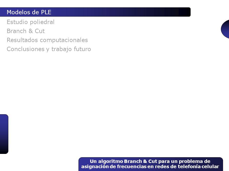 Un algoritmo Branch & Cut para un problema de asignación de frecuencias en redes de telefonía celular Estudio poliedral Modelos de PLE Branch & Cut Re