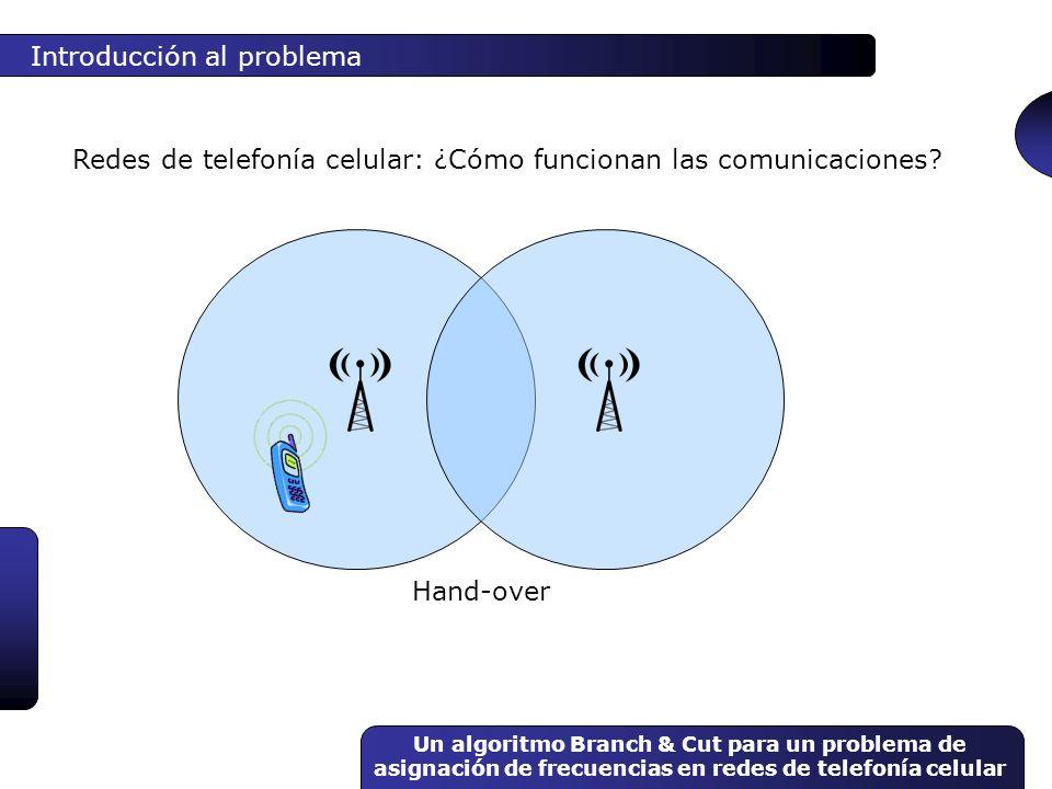 Un algoritmo Branch & Cut para un problema de asignación de frecuencias en redes de telefonía celular Conceptos básicos Programación lineal entera Hallar que maximice { c t x / Ax b } x1x1 x2x2 Planos de corte x 1 +x 2 = 5 1234 1 2 3 4 5
