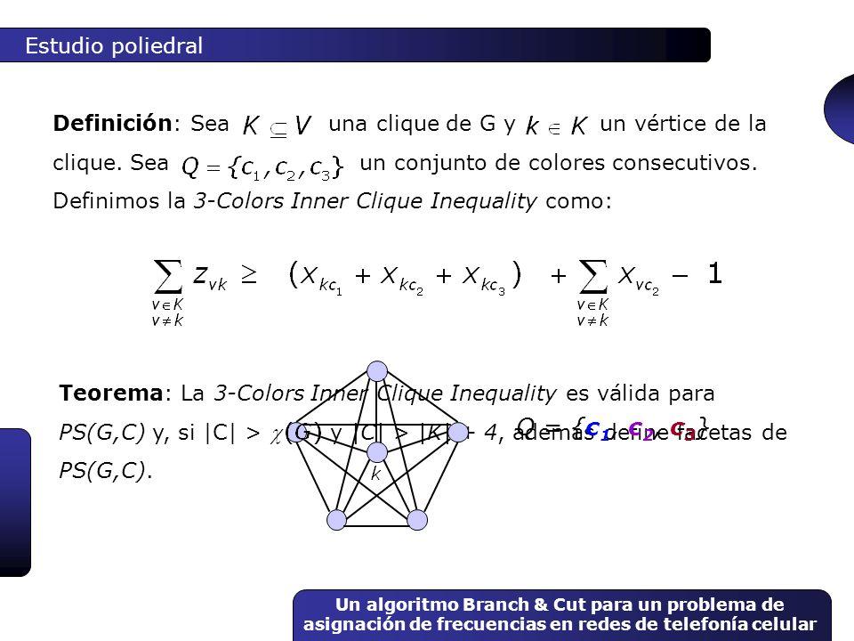 Un algoritmo Branch & Cut para un problema de asignación de frecuencias en redes de telefonía celular Teorema: La 3-Colors Inner Clique Inequality es