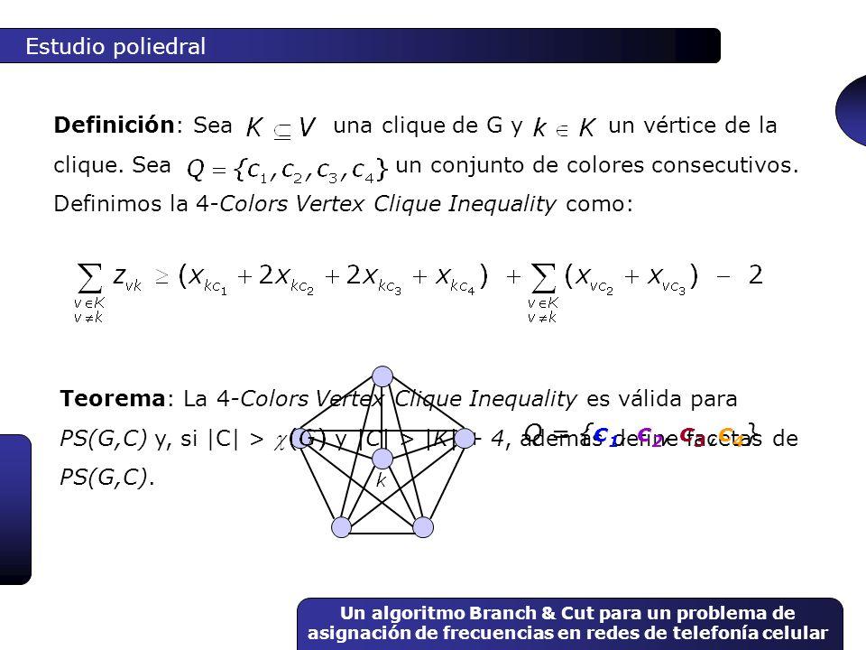 Un algoritmo Branch & Cut para un problema de asignación de frecuencias en redes de telefonía celular Teorema: La 4-Colors Vertex Clique Inequality es