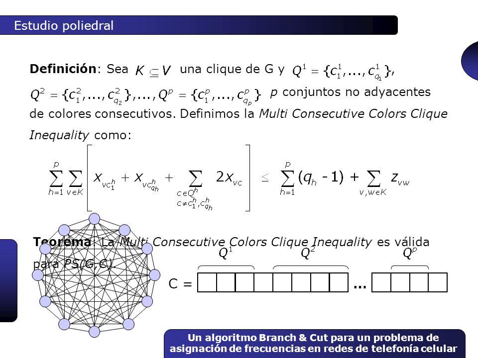 Un algoritmo Branch & Cut para un problema de asignación de frecuencias en redes de telefonía celular Teorema: La Multi Consecutive Colors Clique Ineq