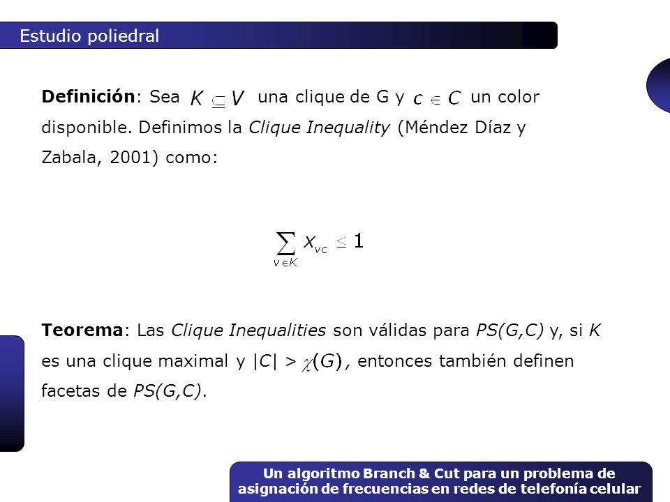 Un algoritmo Branch & Cut para un problema de asignación de frecuencias en redes de telefonía celular Teorema: Las Clique Inequalities son válidas par