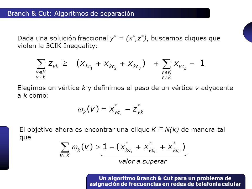 Un algoritmo Branch & Cut para un problema de asignación de frecuencias en redes de telefonía celular Branch & Cut: Algoritmos de separación Dada una