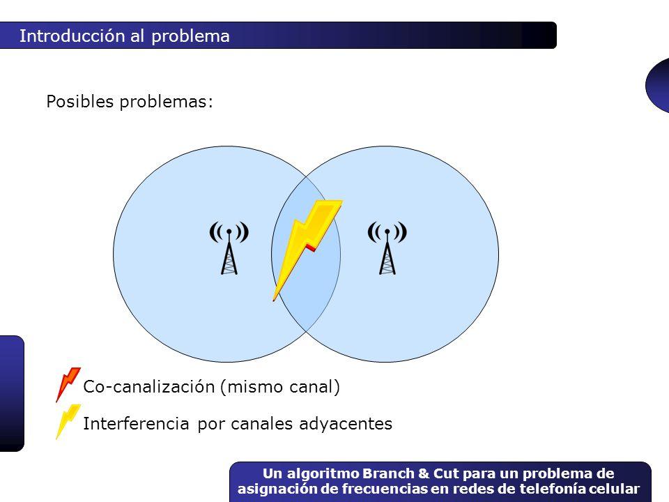 Un algoritmo Branch & Cut para un problema de asignación de frecuencias en redes de telefonía celular Conceptos básicos Programación lineal entera Branch & Bound x1x1 x2x2 x 2 3 x 2 2 Branch & Cut = Branch & Bound + Planos de corte 1234 1 2 3 4 5