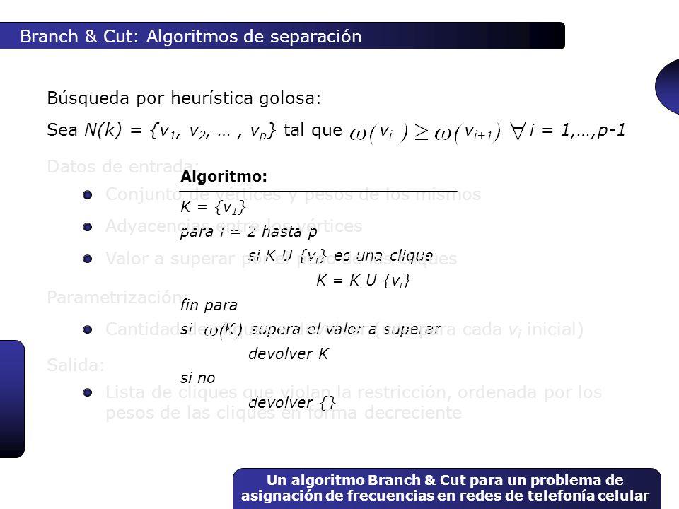 Un algoritmo Branch & Cut para un problema de asignación de frecuencias en redes de telefonía celular K = {v 1 } para i = 2 hasta p si K U {v i } es u