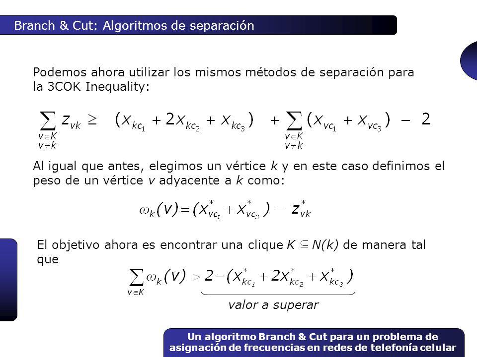 Un algoritmo Branch & Cut para un problema de asignación de frecuencias en redes de telefonía celular Branch & Cut: Algoritmos de separación Podemos a
