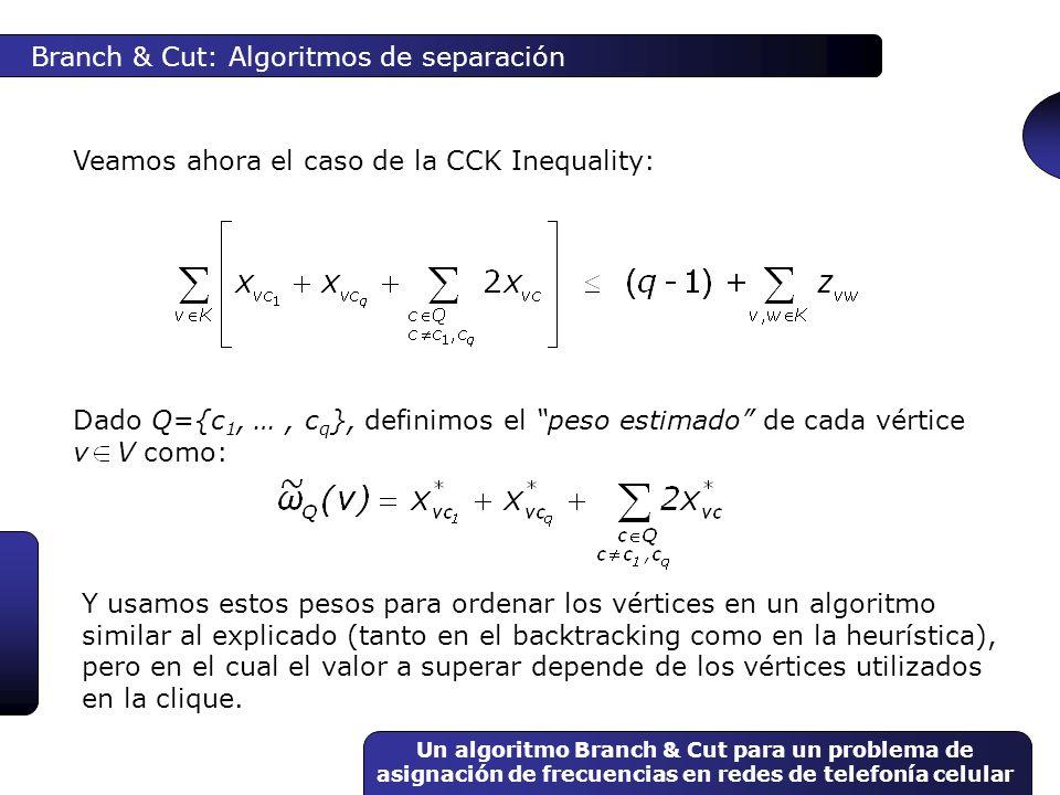 Un algoritmo Branch & Cut para un problema de asignación de frecuencias en redes de telefonía celular Dado Q={c 1, …, c q }, definimos el peso estimad