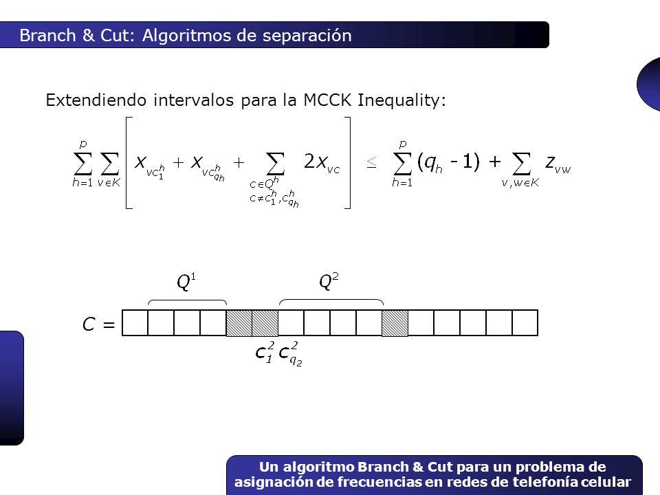 Un algoritmo Branch & Cut para un problema de asignación de frecuencias en redes de telefonía celular Branch & Cut: Algoritmos de separación Extendien