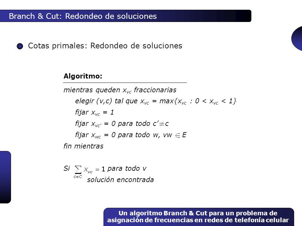 Un algoritmo Branch & Cut para un problema de asignación de frecuencias en redes de telefonía celular Branch & Cut: Redondeo de soluciones Cotas prima