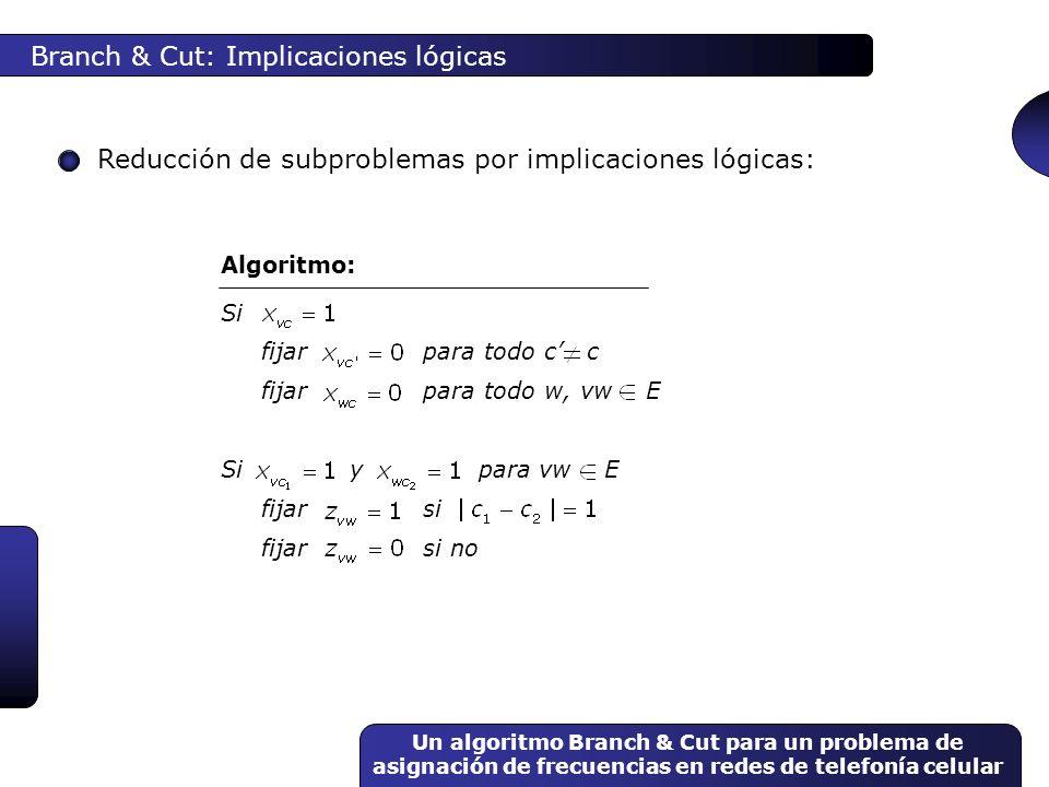 Un algoritmo Branch & Cut para un problema de asignación de frecuencias en redes de telefonía celular Branch & Cut: Implicaciones lógicas Reducción de