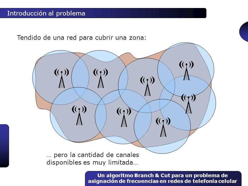 Un algoritmo Branch & Cut para un problema de asignación de frecuencias en redes de telefonía celular Introducción al problema Objetivos de una asignación de frecuencias: 1.