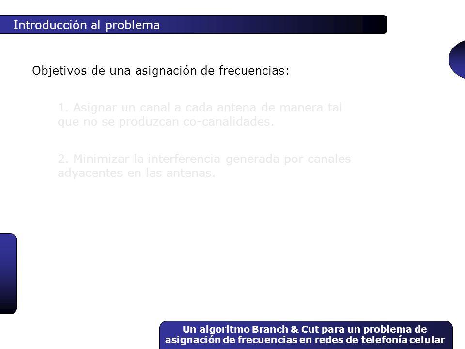 Un algoritmo Branch & Cut para un problema de asignación de frecuencias en redes de telefonía celular Introducción al problema Objetivos de una asigna