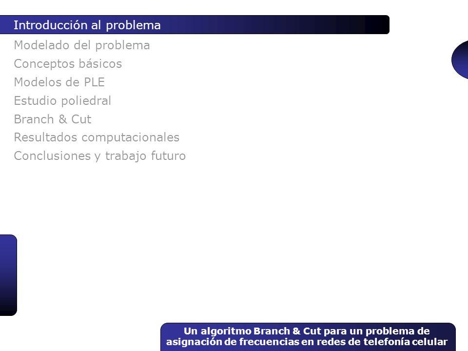 Un algoritmo Branch & Cut para un problema de asignación de frecuencias en redes de telefonía celular Modelado del problema Introducción al problema C