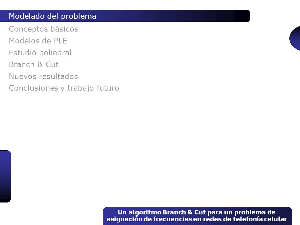 Un algoritmo Branch & Cut para un problema de asignación de frecuencias en redes de telefonía celular Conceptos básicos Modelado del problema Modelos
