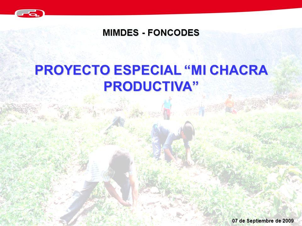 PROYECTO ESPECIAL MI CHACRA PRODUCTIVA MIMDES - FONCODES 07 de Septiembre de 2009