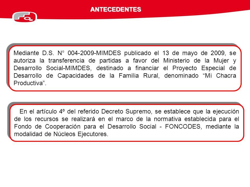 Mediante D.S. N° 004-2009-MIMDES publicado el 13 de mayo de 2009, se autoriza la transferencia de partidas a favor del Ministerio de la Mujer y Desarr