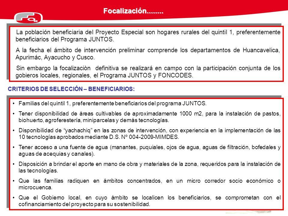 Focalización........ La población beneficiaria del Proyecto Especial son hogares rurales del quintil 1, preferentemente beneficiarios del Programa JUN