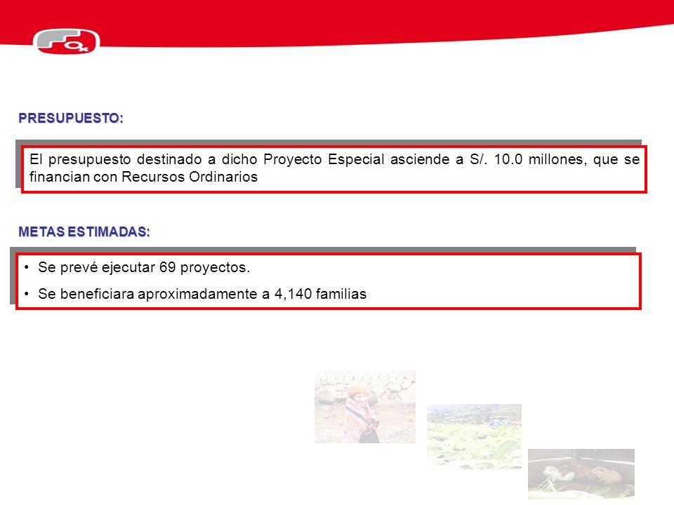 El presupuesto destinado a dicho Proyecto Especial asciende a S/. 10.0 millones, que se financian con Recursos Ordinarios METAS ESTIMADAS: Se prevé ej
