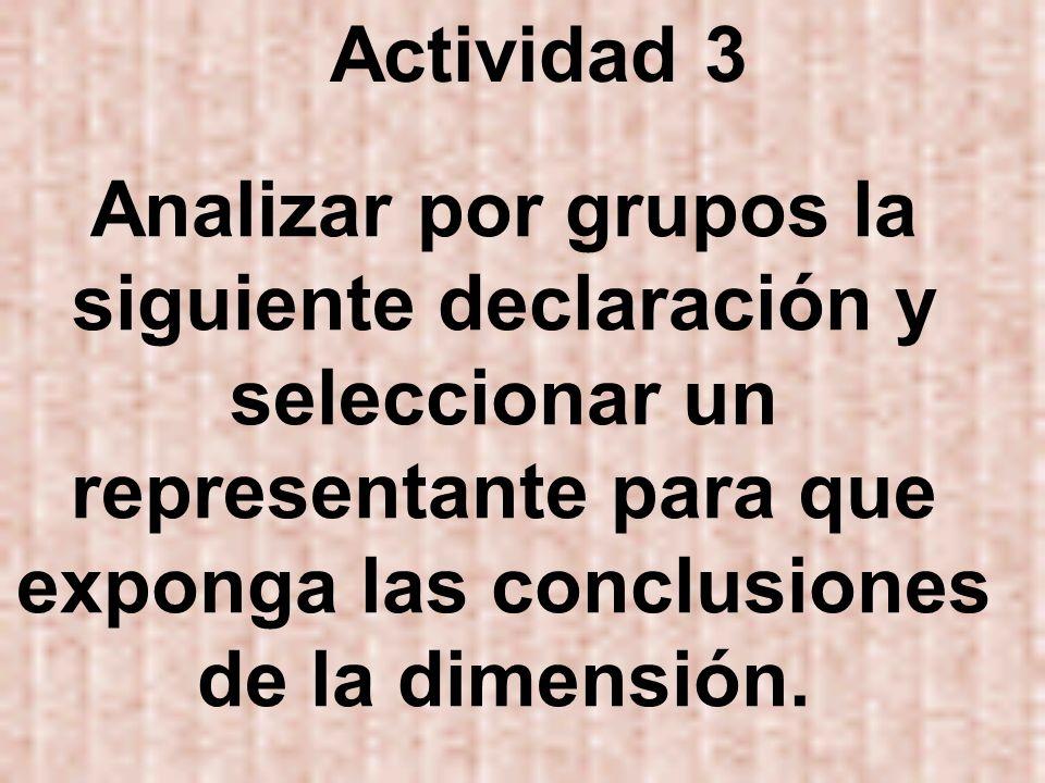 Actividad 3 Analizar por grupos la siguiente declaración y seleccionar un representante para que exponga las conclusiones de la dimensión.