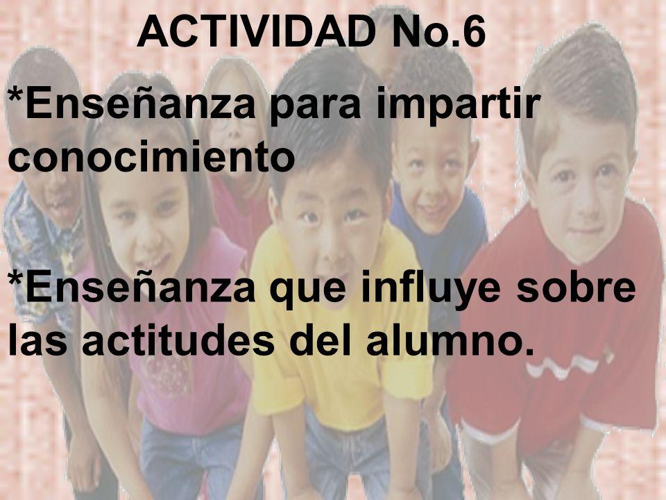 *Enseñanza que influye sobre las actitudes del alumno. *Enseñanza para impartir conocimiento ACTIVIDAD No.6
