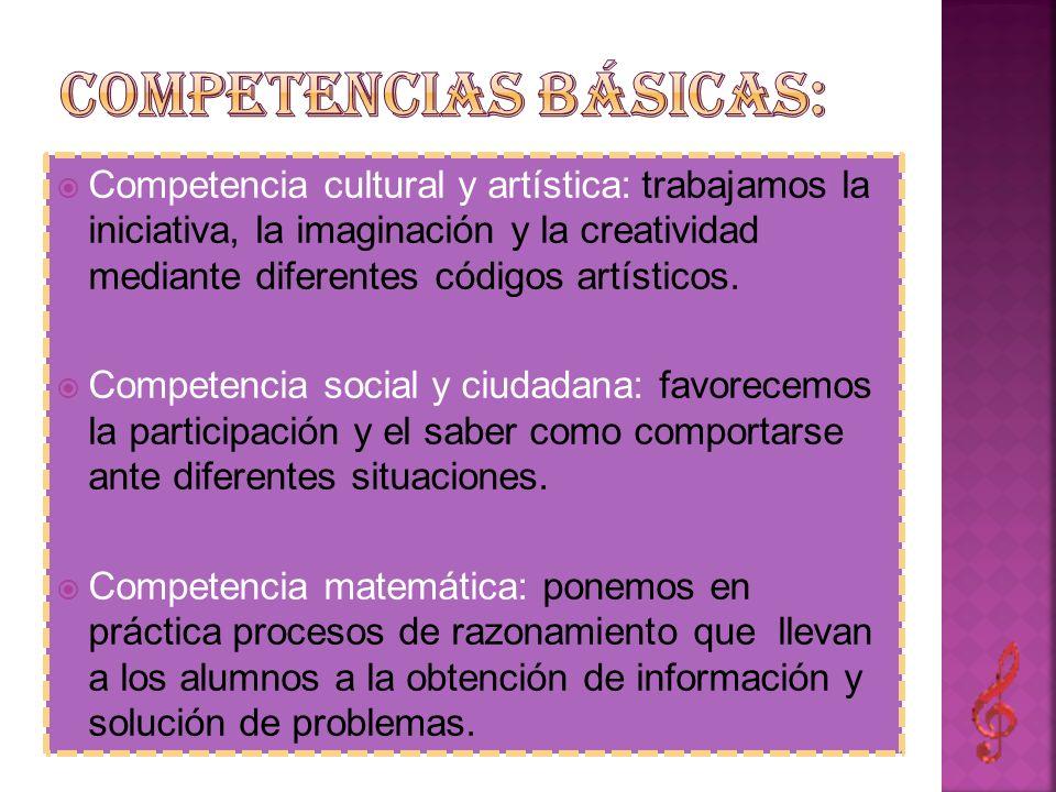 Competencia cultural y artística: trabajamos la iniciativa, la imaginación y la creatividad mediante diferentes códigos artísticos. Competencia social