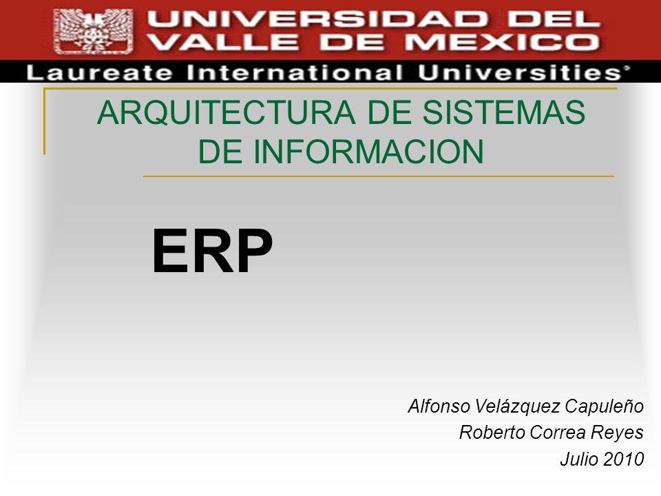 ARQUITECTURA DE SISTEMAS DE INFORMACION ERP Alfonso Velázquez Capuleño Roberto Correa Reyes Julio 2010