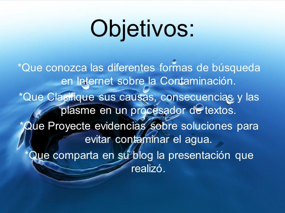 Objetivos: Objetivos orientados a tareas Objetivos orientados al aprendizaje ImprecisosEspecíficos Los alumnos realicen una investigación acerca de la contaminación.