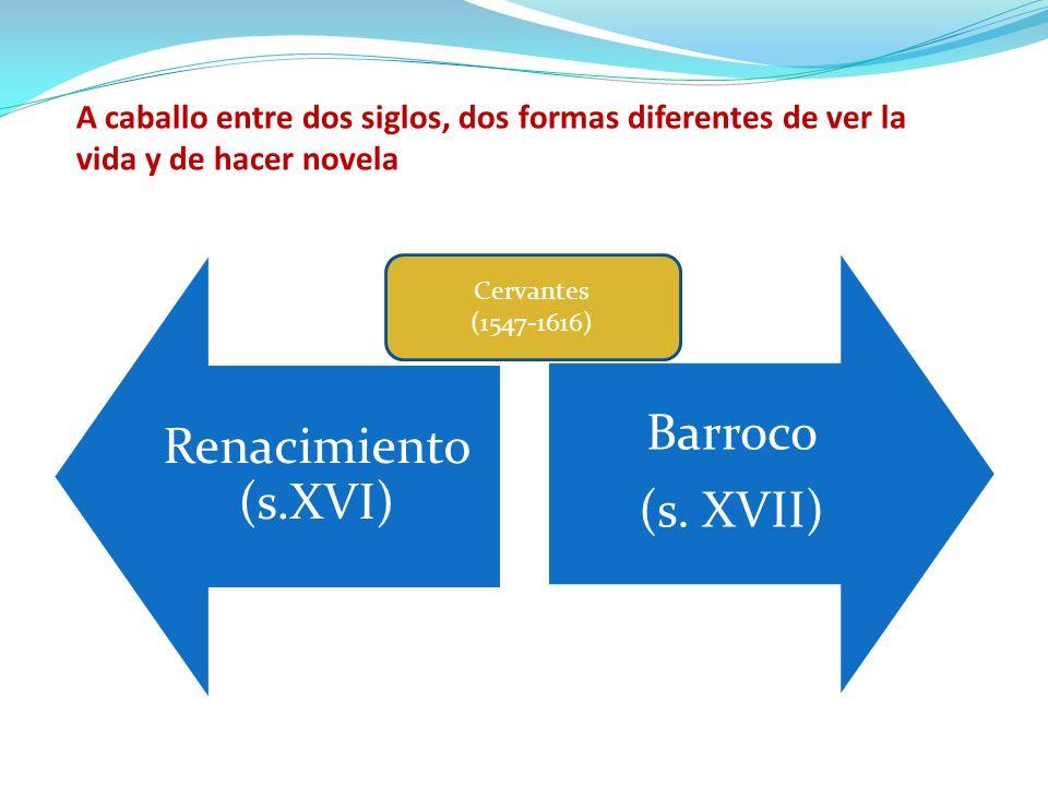 Renacimiento (s.XVI) Barroco (s. XVII) Cervantes (1547-1616) A caballo entre dos siglos, dos formas diferentes de ver la vida y de hacer novela