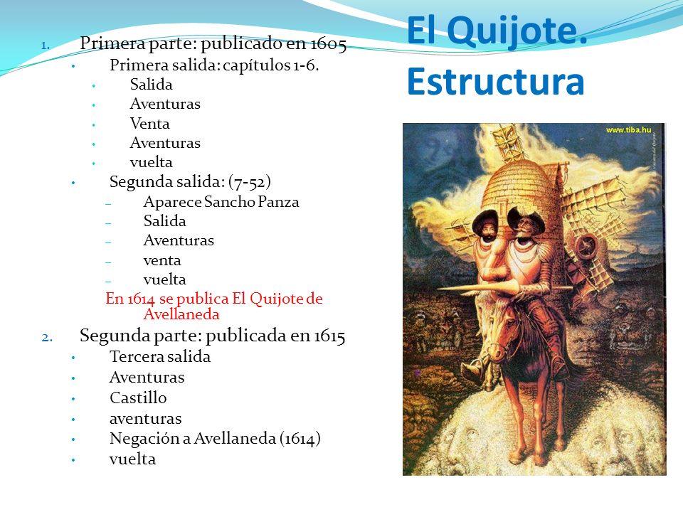 El Quijote. Estructura 1. Primera parte: publicado en 1605 Primera salida: capítulos 1-6. Salida Aventuras Venta Aventuras vuelta Segunda salida: (7-5