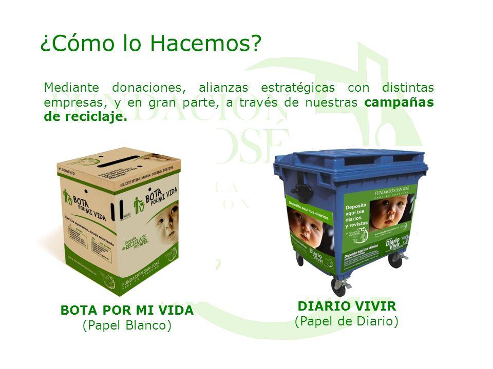¿Cómo lo Hacemos? Mediante donaciones, alianzas estratégicas con distintas empresas, y en gran parte, a través de nuestras campañas de reciclaje. BOTA
