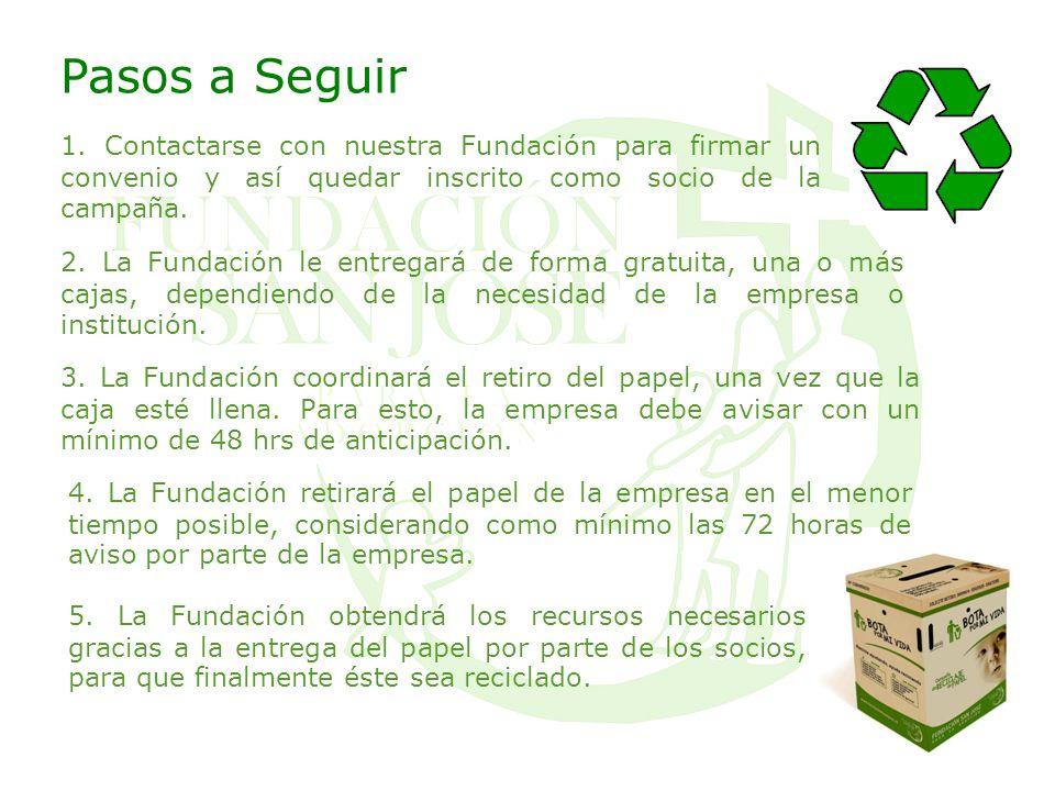 Pasos a Seguir 1. Contactarse con nuestra Fundación para firmar un convenio y así quedar inscrito como socio de la campaña. 3. La Fundación coordinará