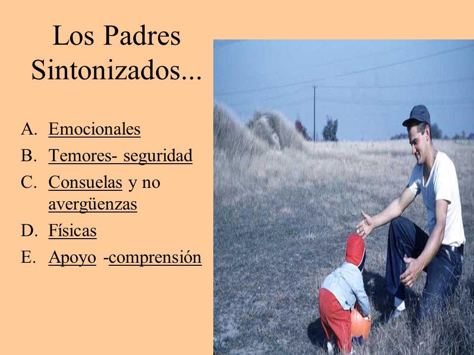 Los Padres Sintonizados... A.Emocionales B.Temores- seguridad C.Consuelas y no avergüenzas D.Físicas E.Apoyo -comprensión