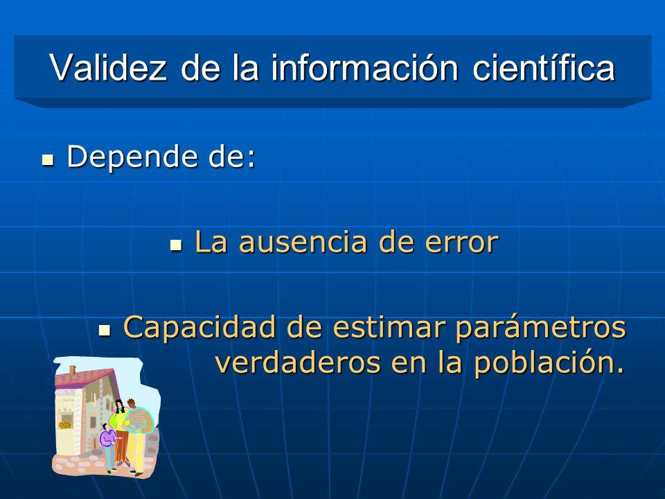 Validez de la información científica Depende de: Depende de: La ausencia de error La ausencia de error Capacidad de estimar parámetros verdaderos en l