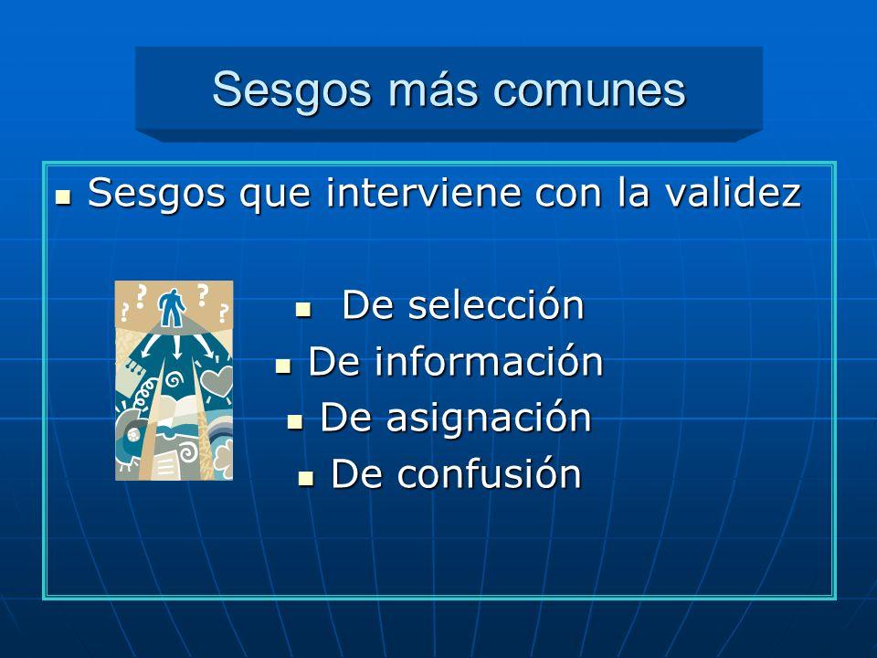 Sesgos más comunes Sesgos que interviene con la validez Sesgos que interviene con la validez De selección De selección De información De información D