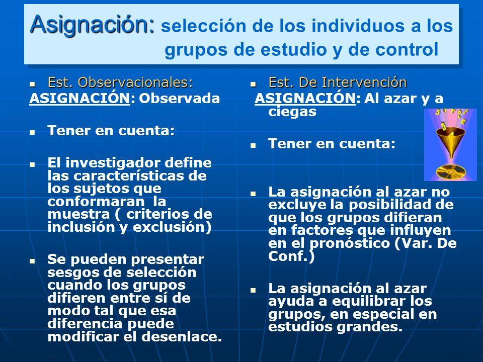 Asignación: Asignación: selección de los individuos a los grupos de estudio y de control Est. Observacionales: Est. Observacionales: ASIGNACIÓN: Obser