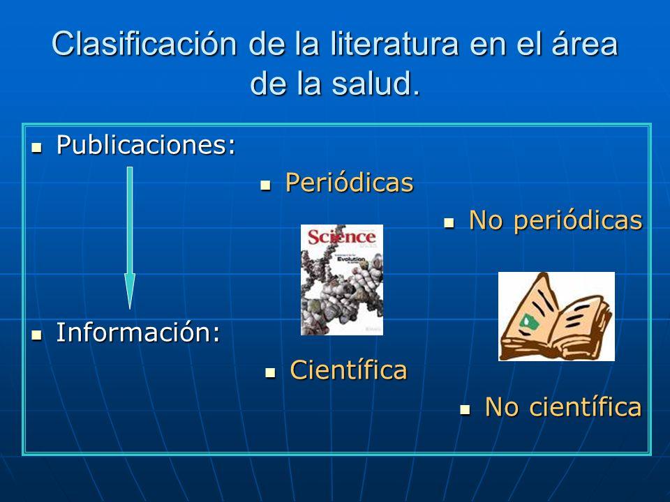 Clasificación de la literatura en el área de la salud. Publicaciones: Publicaciones: Periódicas Periódicas No periódicas No periódicas Información: In