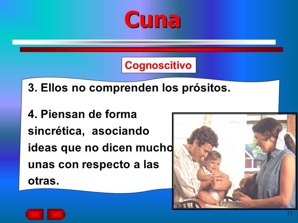 10 Cuna Cognoscitivo 1. Los niños de Cuna aprenden en proporciones diferentes. 2. Ellos aprenden el comportamiento moral de situaciones, resultados y
