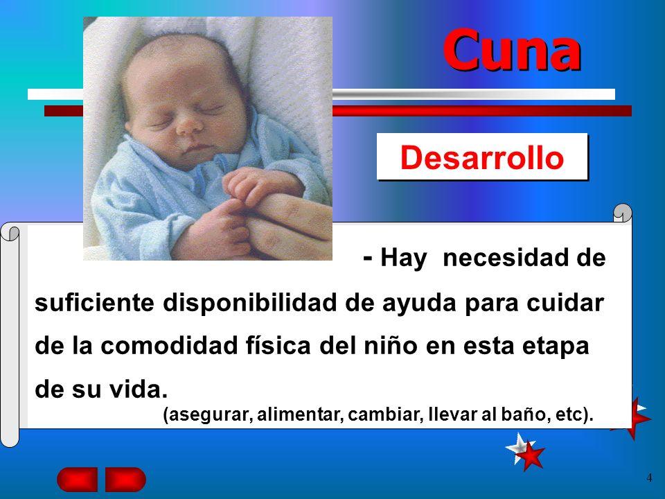 3 Desarrollo Cuna 1. Las necesidades físicas tienen preferencia sobre todas las demás necesidades para los niños de 0 a 24 meses.