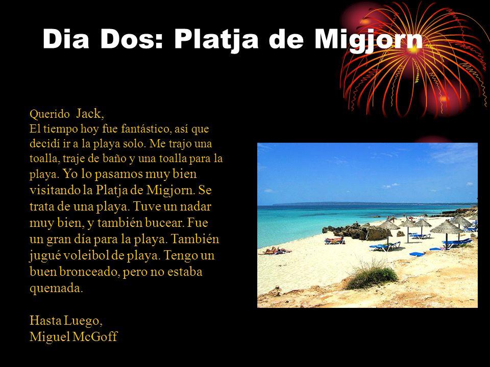 Dia Dos: Platja de Migjorn Querido Jack, El tiempo hoy fue fantástico, así que decidí ir a la playa solo. Me trajo una toalla, traje de baño y una toa