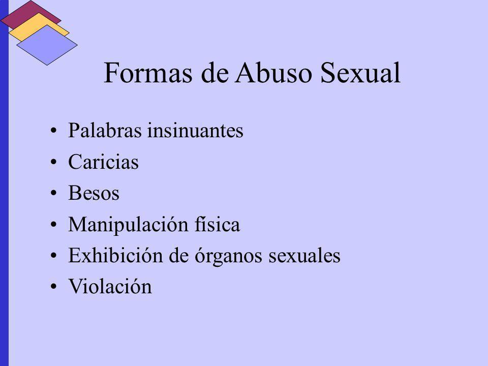 Formas de Abuso Sexual Palabras insinuantes Caricias Besos Manipulación física Exhibición de órganos sexuales Violación